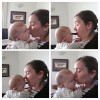 four photos of woman kissing baby