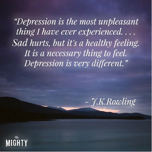 5 times jk rowling got real about depression the mighty my depression was characterized by a numbness a coldness and an inability to believe you will feel happy again all the color drained out of life ccuart Gallery