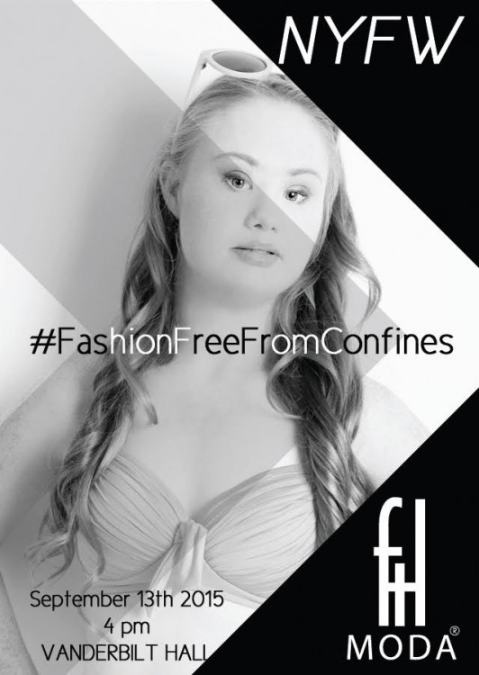 FTL Moda ad for 2015 NYFW featuring Madeline Stuart