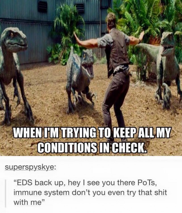 chronic illness meme: when i'm trying to keep all my conditions in check