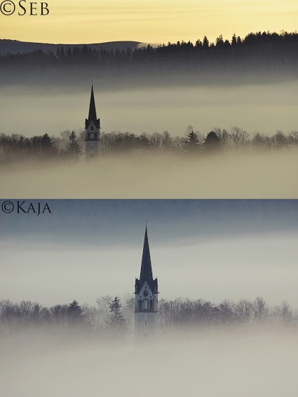 A church steeple from two angles.