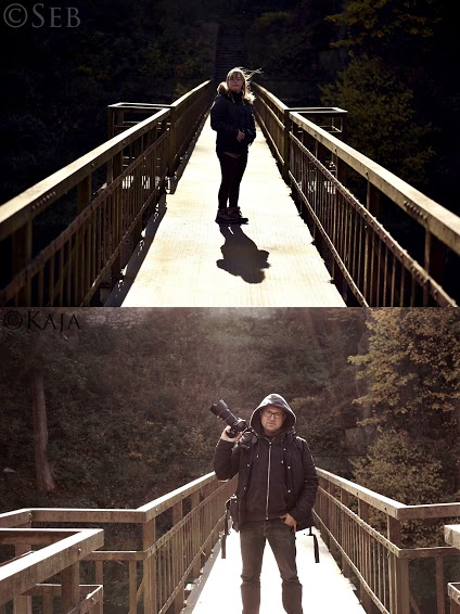 Two different pictures of Kaja and her father on a bridge.