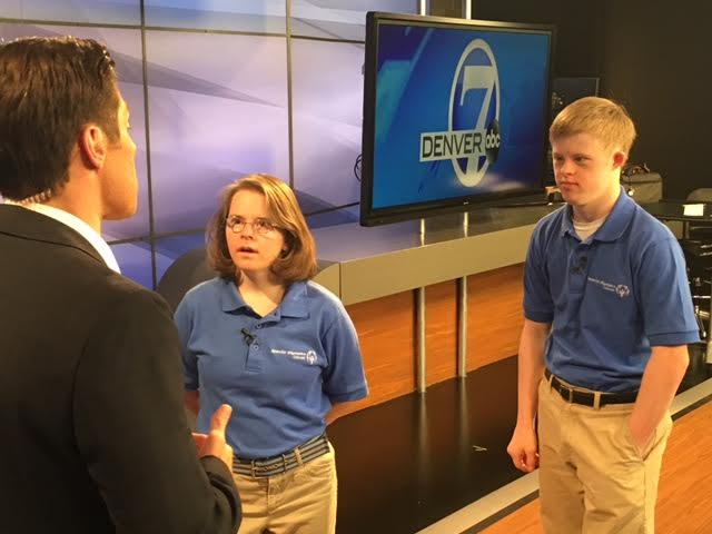 Connor Long and Hanna Atkinson on set. / Courtesy of Special Olympics Colorado