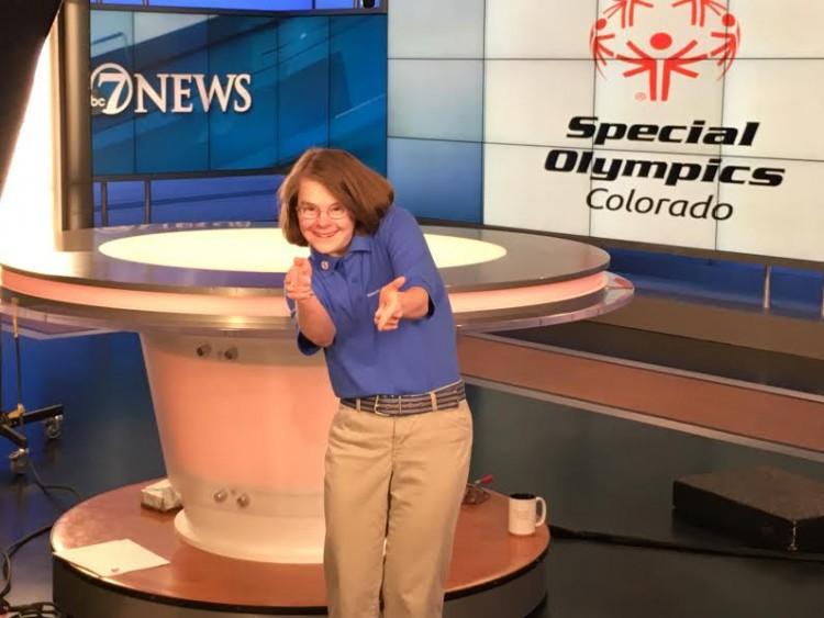 Hanna Atkinson on set. / Courtesy of Special Olympics Colorado