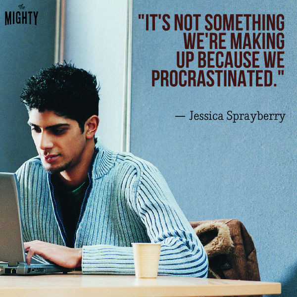 "A male student wit dark hair sits at his computer wearing a sweater. Text reads: ""It's not something we're making up because we procrastinated."""