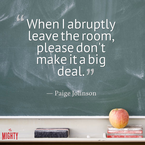 "Chalkboard with text that reads: ""When I abruptly leave the room, please don't make it a big deal."""