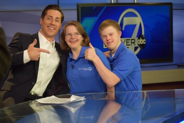 Hanna Atkinson and Connor Long on set with their co-host. / Courtesy of Special Olympics Colorado
