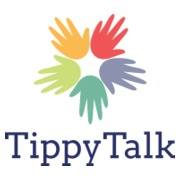 TippyTalk logo of rainbow hands in a star shape