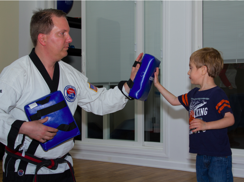 student takes adaptive karate