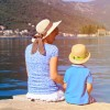 mother and son looking at scenic view in Montenegro