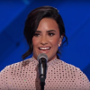 Demi Lovato speaking about mental illness at the 2016 Democratic National Convention