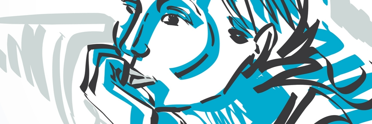 Blue illustration of woman looking away with her chin resting on her closed hand