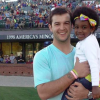 nfl player aj mccarron holding leukemia survivor starla chapman