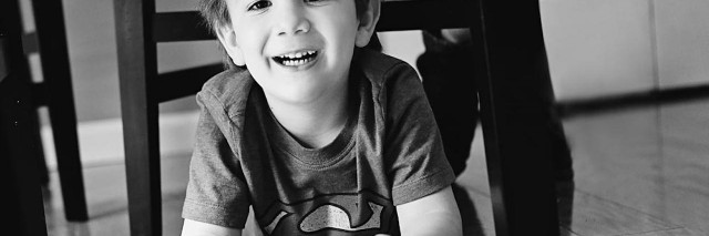black and white photo of a younger boy