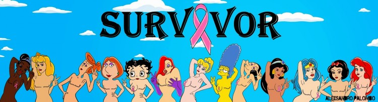 SURVIVOR Breast Art Campaign Iconic The Simpsons Wilma Flintstone Marge Lois Griffin Wonder Woman Cinderella Aurora Snow White Jasmine Jessica Rabbit Betty Boop aleXsandro Palombo Disney Princess1b