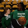 Gerald Wallace talking with boy with Down syndrome