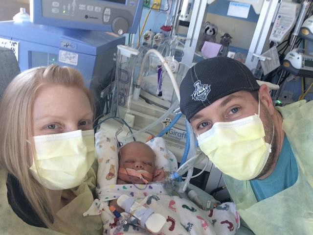 eric and danielle wilson with their newborn son cooper