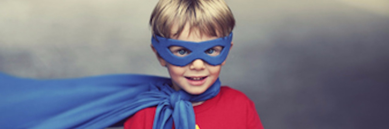 author's son in superhero costume