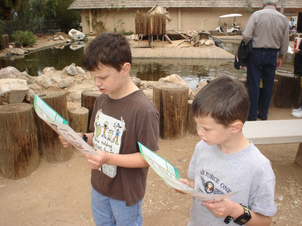 two boys at the zoo