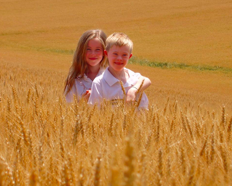 Connor Long brother and sister in wheat field