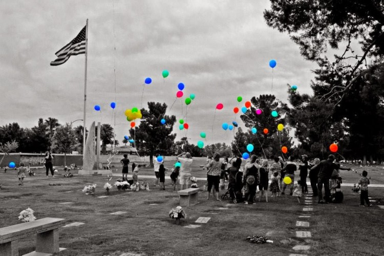 balloon release near grave