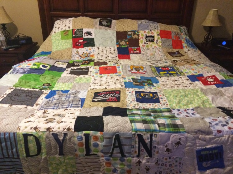 patchwork blanket with dylan's name