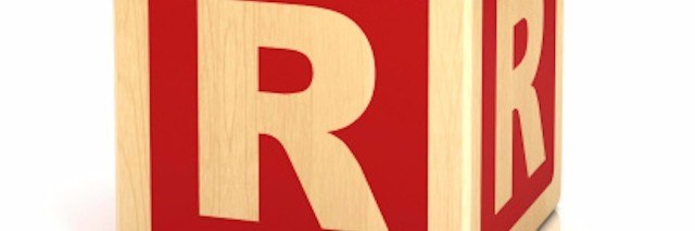 alphabet block with the letter 'R'