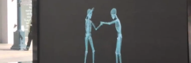 Image of two skeletons behind a black screen
