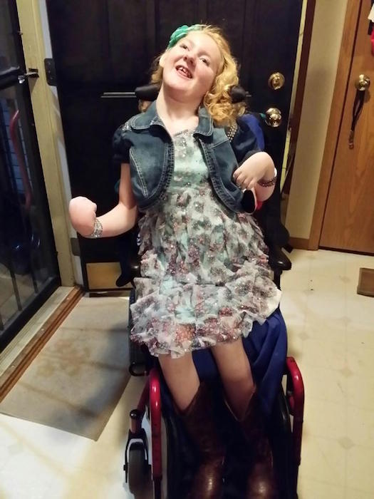 becky's grown daughter in a wheelchair