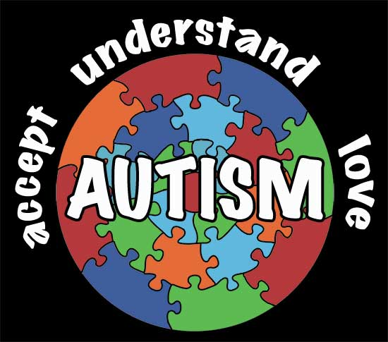 puzzle piece graph with text 'accept, understand, and love autism'