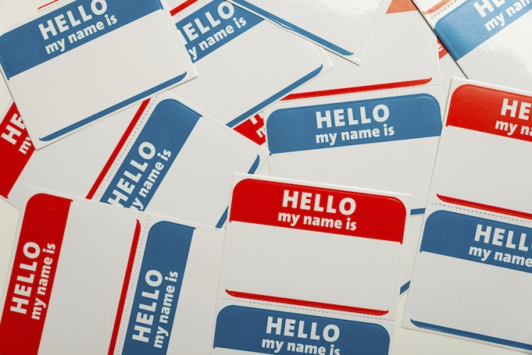 Stack of name tags or badges
