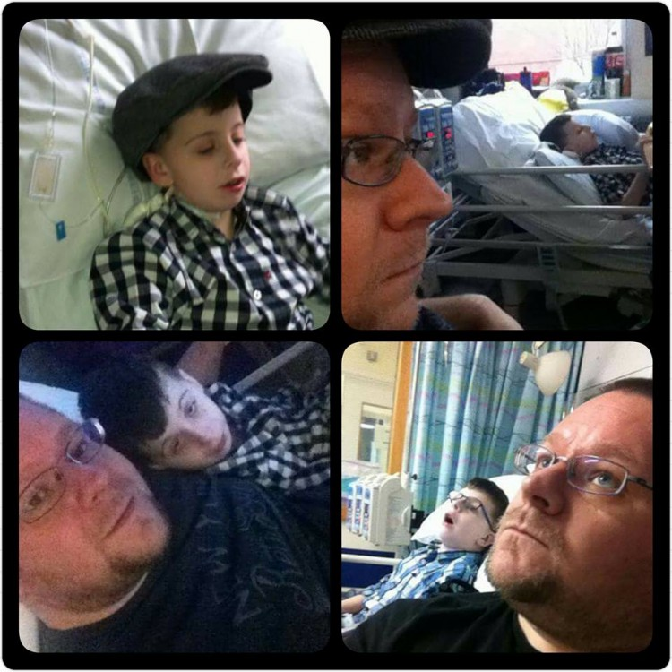 Collage of photos of dad next to son in hospital