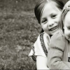 black and white photo of two young girls