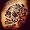 A tattoo of a skull
