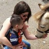 mother and son feeding a pony