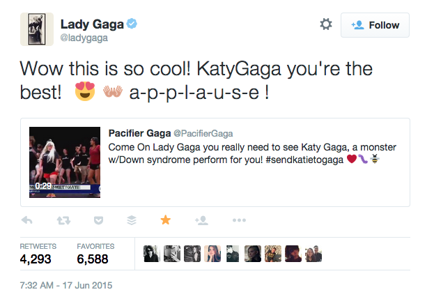 "Lady Gaga on Twitter: ""Wow this is so cool! KatyGaga you're the best! a-p-p-l-a-u-s-e!"""