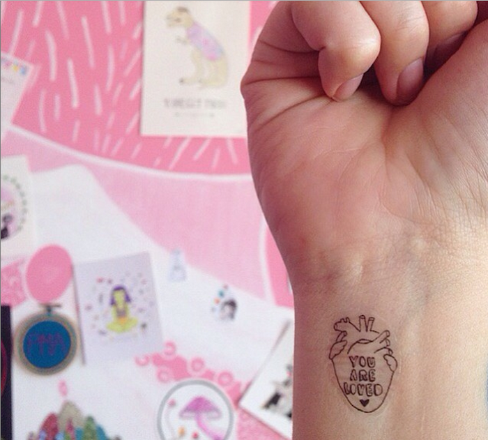 temporary tattoo of a heart