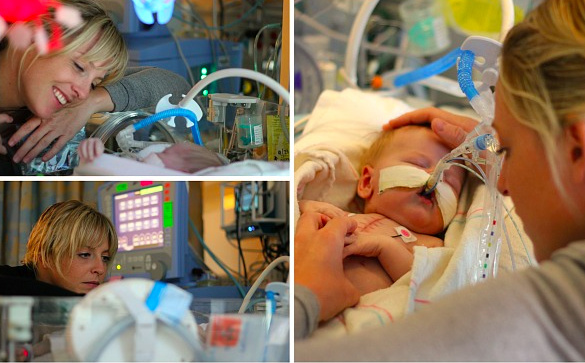 A collage of photos of Christie, the author, next to her baby in the NICU