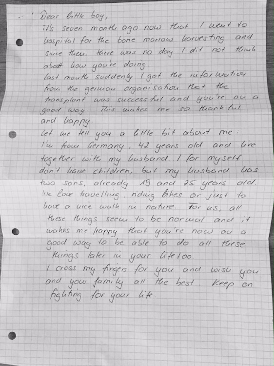 letter from anonymous donor to son