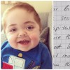 a collage of photo of baby boy and a letter from anonymous donor to son