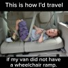 "Meme of disabled young man laying in back seat that says, ""This is how I'd travel if my van did not have a wheelchair ramp."""