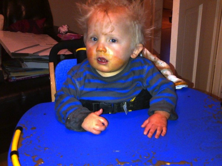 Alison's son after eating