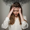 woman with cloud of scribbles coming out of head
