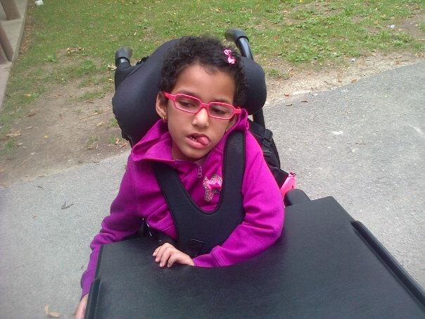 daughter in a wheelchair