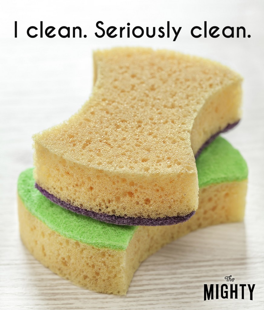 Two sponges stacked on top of each other under the text, [I clean. Seriously clean.]