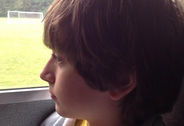 boy sitting in car