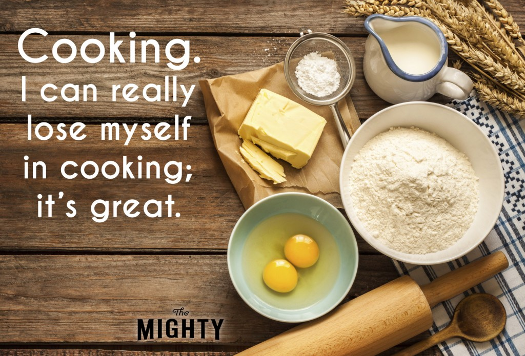 A photo of prepped baking ingredients (flour, butter, egg yolks, sugar, milk, wooden spoon and roller). Accompanying text: [Cooking. I can really lose myself in cooking; it's great.]