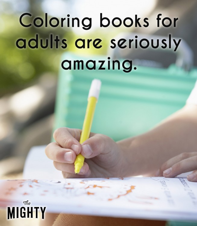 A close-up of someone coloring. Accompanying text: [Coloring books for adults are seriously amazing.