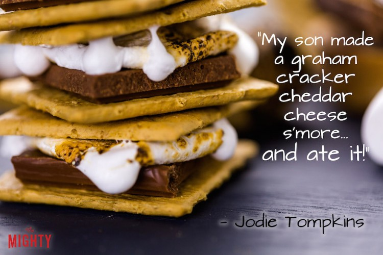 "A quote from Jodie Tompkins that says, ""My son made a graham cracker cheddar cheese s'more... and ate it!"""