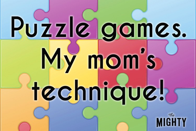 The text [Puzzle games. My mom's technique!] over a background of colorful puzzle pieces
